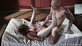 Kinky nurse gets facialized after intense pussy pounding