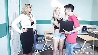 Sizzling blonde teacher seduces her students into a threesome