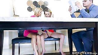 Sexy blonde MILF catches her stepdaughter masturbating