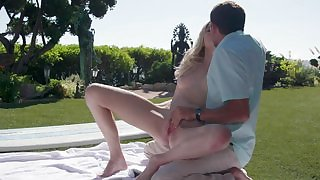 Chloe Foster nice sex outdoors with cum on her