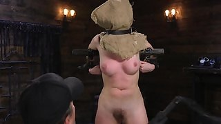 Young teen in wild sex act with fucking machine, hands tied up to chair, with forced orgasm in fetish BDSM