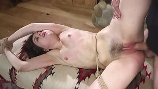 Damn hot Fetish BDSM movie with spanking of lady with hands tied, nice doggy style sex after that and spreading legs for cumshot