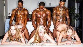 Three stunning blonde ladies servicing muscled black dudes