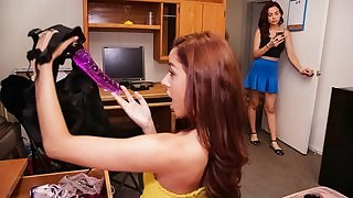 Pretty chick nails roommate's pussy with strap-on dildo