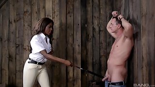 Dominant ebony with natural tits humiliates her slave