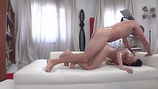 Young slut with glasses experiences the hardest pounding she's ever tried