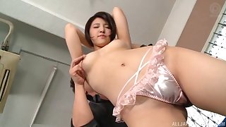 Short-haired Asian sucks and fucks hard prick until it explodes