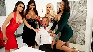 Four office sluts fuck Keiran right at their workplace