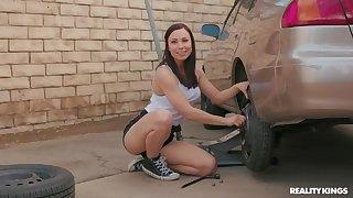 Pretty brunette gets fucked hard by tattooed car mechanic