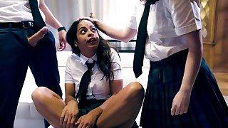 Two spunky schoolgirls pleasuring Justin in the living room