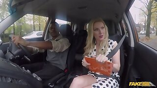 Busty driving school instructor pleasuring black dude in the car