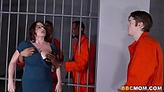 Busty mama maggie green takes two bbcs in a jail
