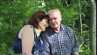 Old mature couple bonks outdoor